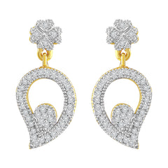 Asmitta Eye-Catchy Leaf Shape American Diamond Gold Plated Dangle Earring For Women