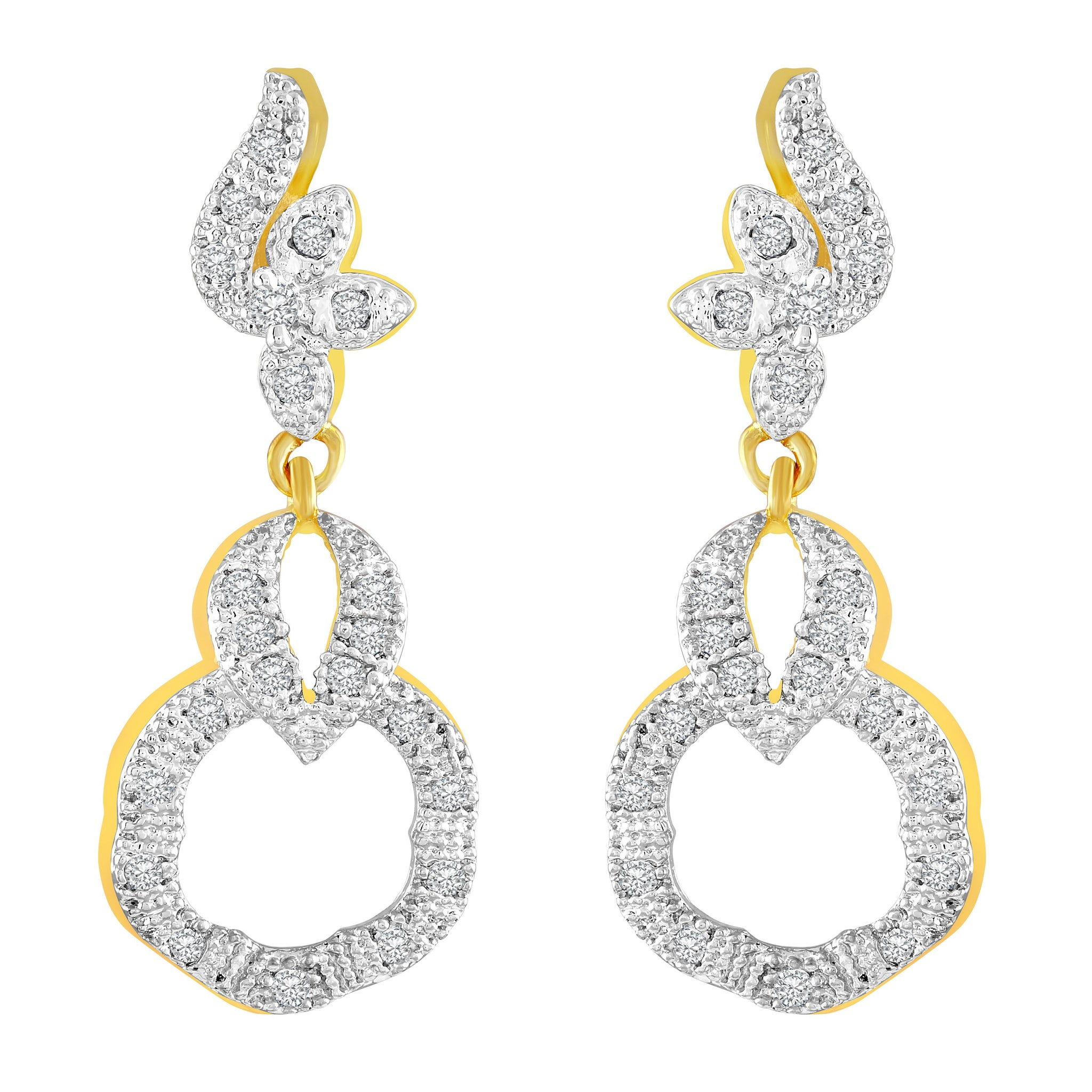 Asmitta Enchanting Round Shape American Diamond Gold Plated Dangle Earring For Women