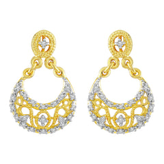Asmitta Fine Chand bali American Diamond Gold Plated Dangle Earring For Women