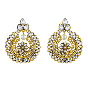 Asmitta Fancy White Kundan Gold Plated Chandbali Earring For Women
