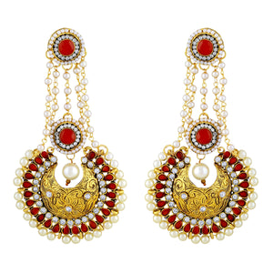 Asmitta Jewellery Gold  Earring Zinc Drops Danglers  -ED391