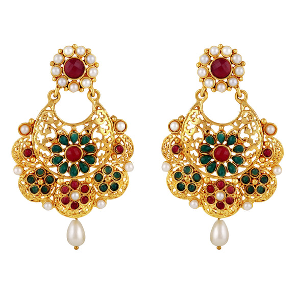 Asmitta Jewellery Gold Zinc Drops Danglers  -ED502