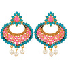 Asmitta Youthful Chandbali Gold Plated Dangle Earrings For Women
