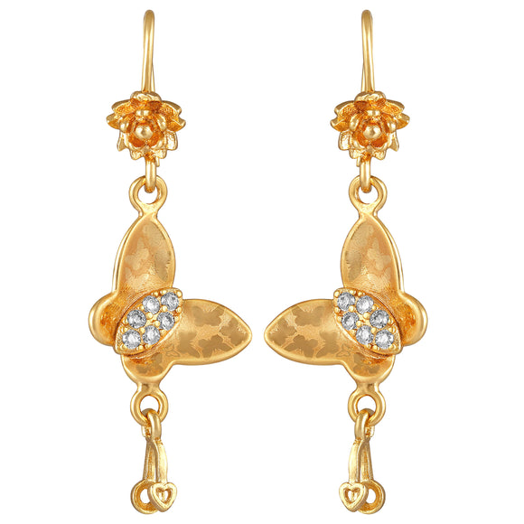 Asmitta Jewellery Gold Brass Drops Danglers  -ED672