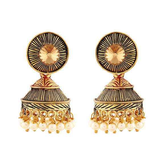 Asmitta Jewellery Gold Zinc Jhumki Earring - EJ105