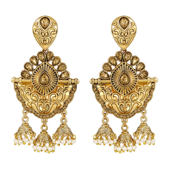 Asmitta Jewellery Gold Zinc Jhumki Earring - EJ522
