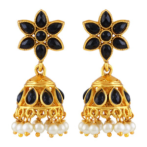 Asmitta Traditional Flower Design Gold Plated Black Stone Jhumki Earring For Women