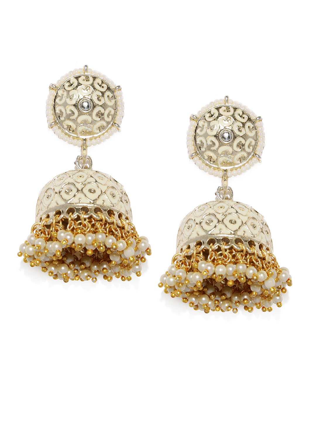 Asmitta Jewellery White Zinc Jhumki Earring - EJ747