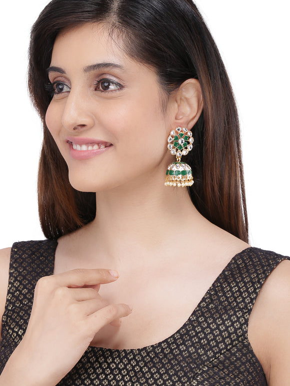 ASMITTA JEWELLERY GREEN ZINC JHUMKI EARRING-EJ757