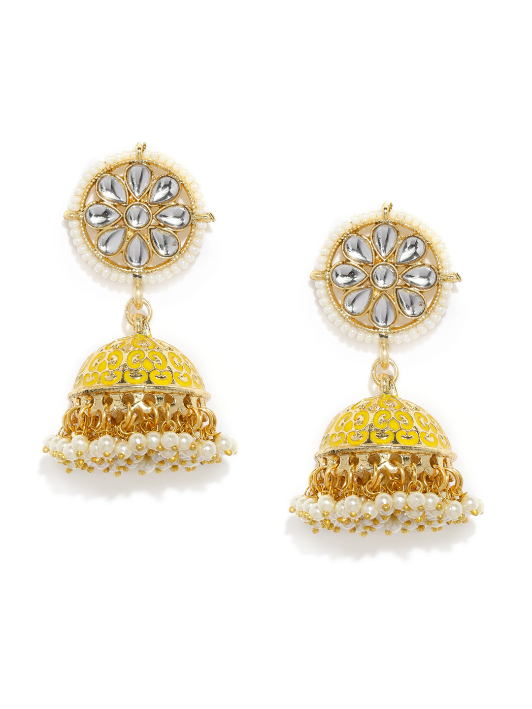 Asmitta Jewellery Yellow Zinc Jhumki Earring - EJ759