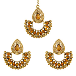 Asmitta Jewellery Gold Zinc Earring Maangtikka Set - EMD53