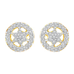 Asmitta Modish Round Shape With Star American Diamond Gold Plated Stud Earring For Women