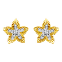 Asmitta Stylish Star Design American Diamond Gold Plated Stud Earring For Women