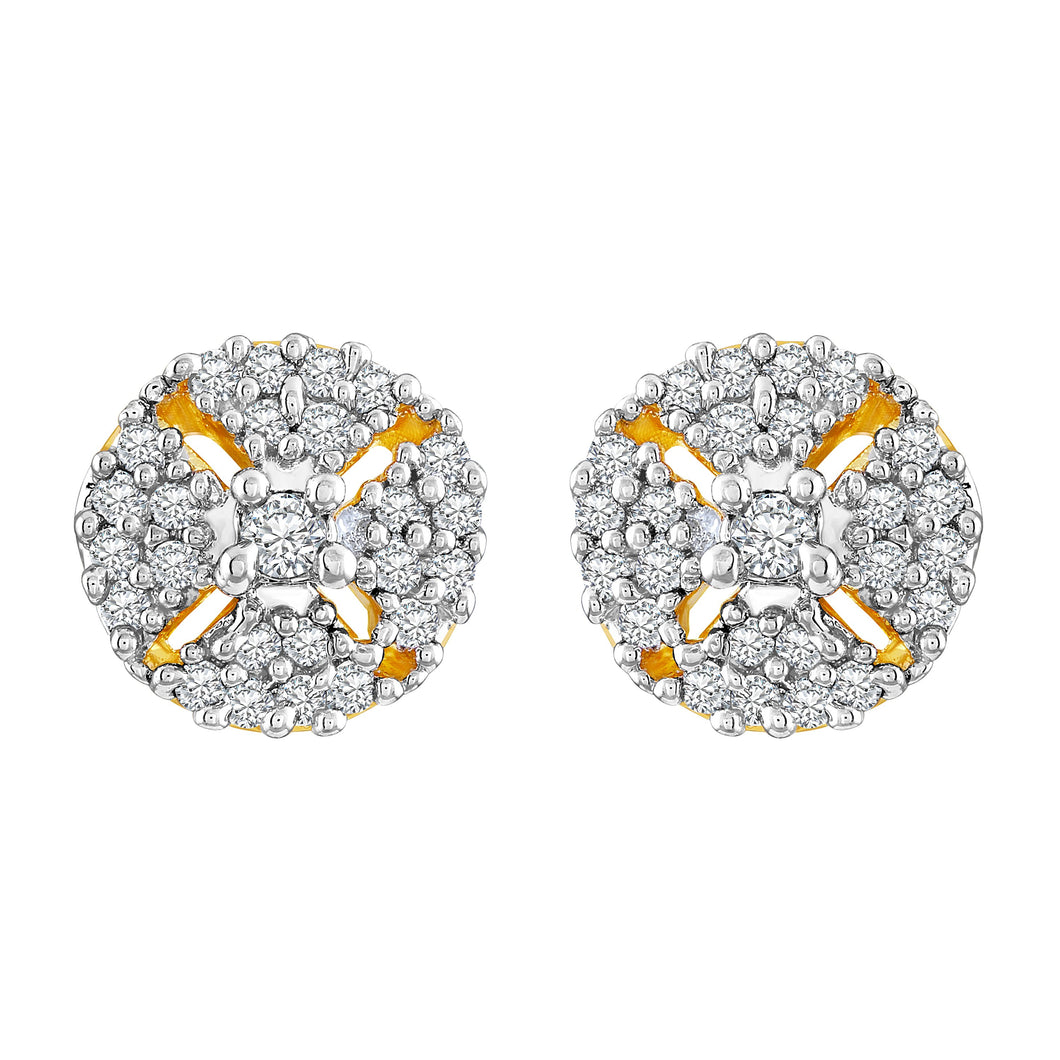Asmitta Excellent Round Shape American Diamond Gold Plated Stud Earring For Women