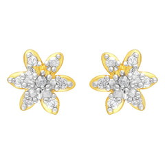 Asmitta Angelic Flower Shape American Diamond Gold Plated Stud Earring For Women