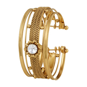 Asmitta Pretty Fancy Gold Plated White Stone Kada For Women