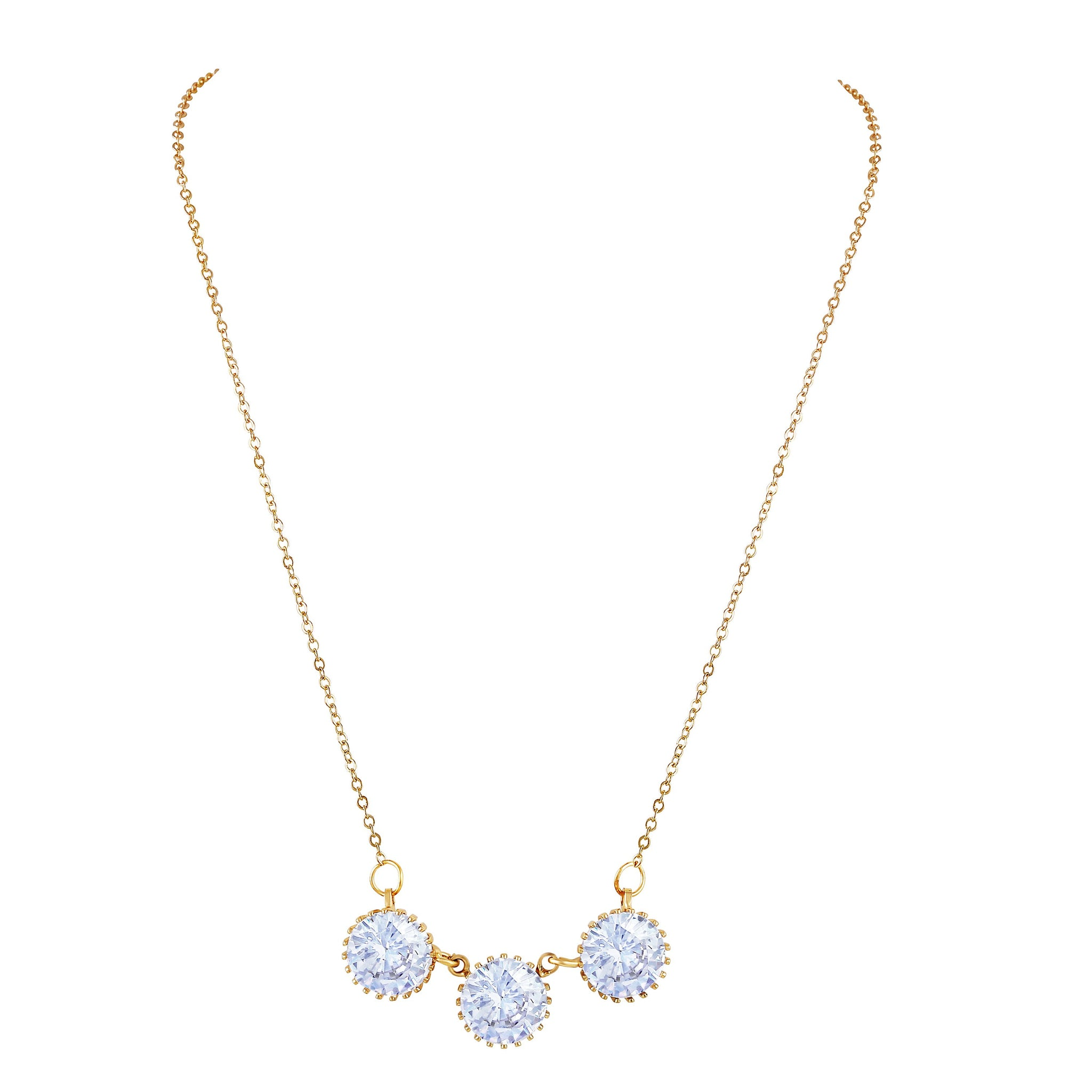 Asmitta Glistening 3 White Round Diamond Shape Gold Plated Mangalsutra For Women