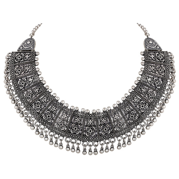 Asmitta Ethnic wear Oxidised Silver Necklace-N695