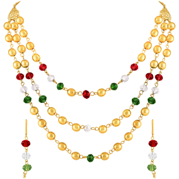 Asmitta Jewellery Gold Zinc Necklace Mala Set - NM431