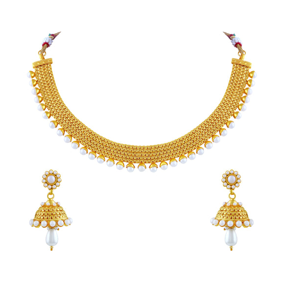 Asmitta Jewellery Zinc Jewel Set (Gold, White) -NS189