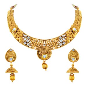 Asmitta Jewellery Gold Zinc Necklace Set - NS202