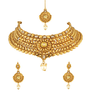 Asmitta Jewellery Zinc Jewel Set (Gold) -NS210