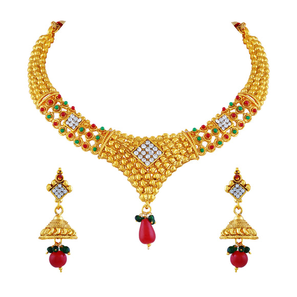 Asmitta Jewellery Zinc Jewel Set (Gold) -NS234