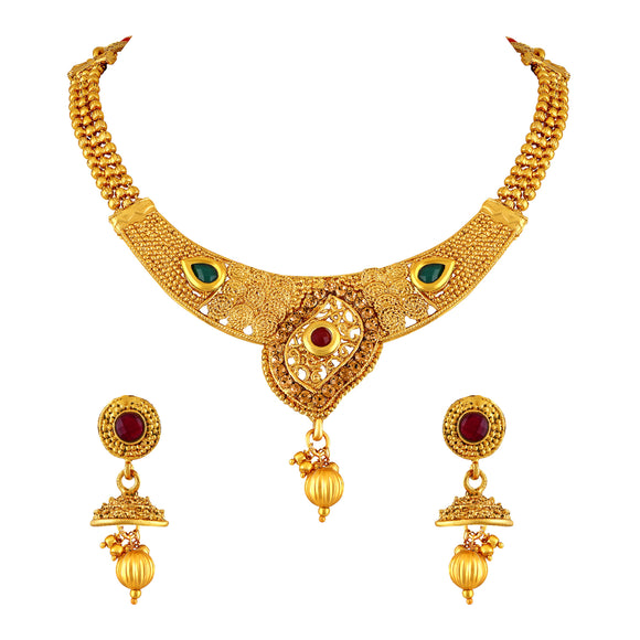 Asmitta Jewellery Zinc Jewel Set (Gold) -NS294