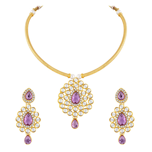 Asmitta Jewellery Gold Zinc Necklace Set - NS308