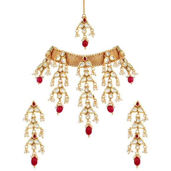 Asmitta Jewellery Gold Copper Necklace Set - NS376