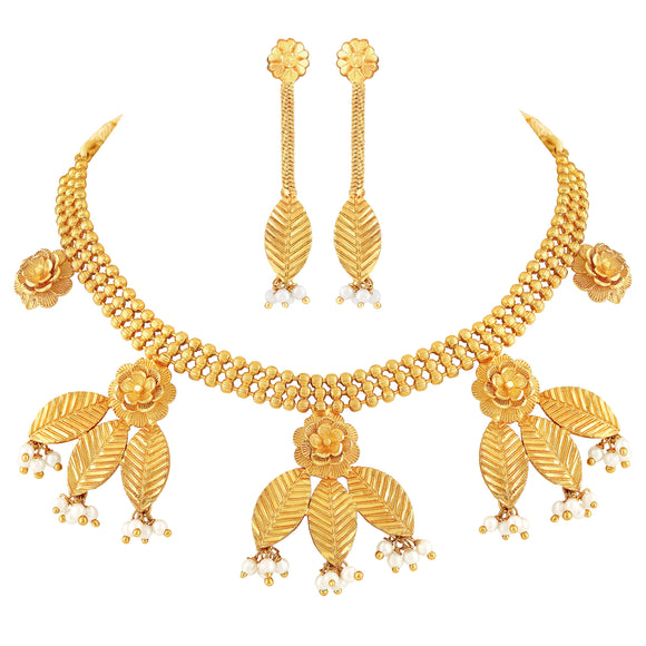 Asmitta Jewellery Brass Jewel Set (Gold, White) -NS477