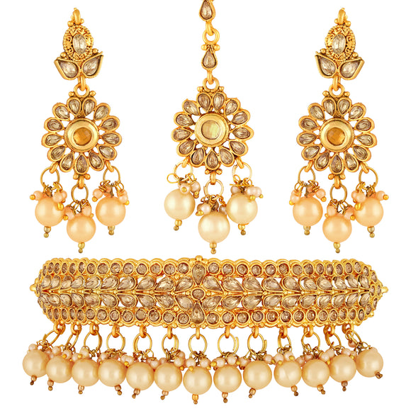 Asmitta Jewellery Zinc Jewel Set (Bronze, Gold, White) -NS488