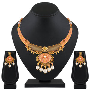 Asmitta Jewellery Zinc Jewel Set (Pink, White) -NS535