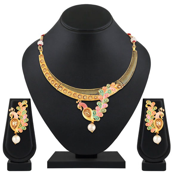 Asmitta Jewellery Multicolor Zinc Necklace Set - NS536
