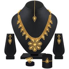 Amazing Flower Shape 1 Gram High Gold Plated Choker Style Brass Necklace Set For Women