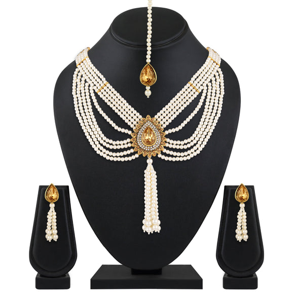 Asmitta Jewellery Zinc Jewel Set (White, Yellow) -NS549