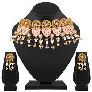 Asmitta Jewellery Zinc Jewel Set (Pink, White, Gold) -NS552