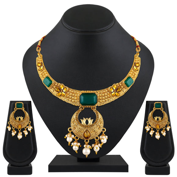 Asmitta Jewellery Zinc Jewel Set (Green, Gold, White) -NS556