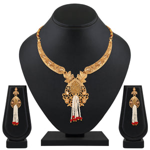 Asmitta Jewellery Zinc Jewel Set (Gold, White) -NS564