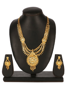 Asmitta Jewellery Gold Brass Necklace Set - NS601
