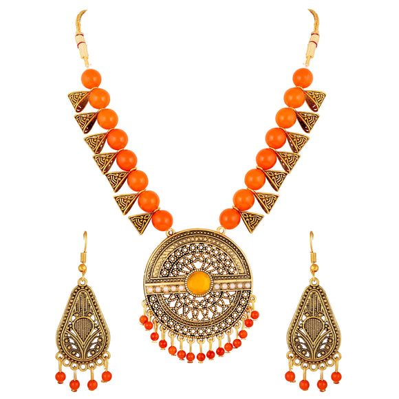 Asmitta Jewellery Zinc Jewel Set (Gold, Orange) -NS608