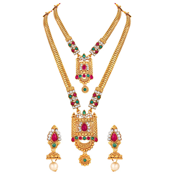 Asmitta Jewellery Zinc Jewel Set (Green, Pink) -NS617