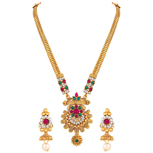 Asmitta Jewellery Zinc Jewel Set (Pink, White, Green) -NS619