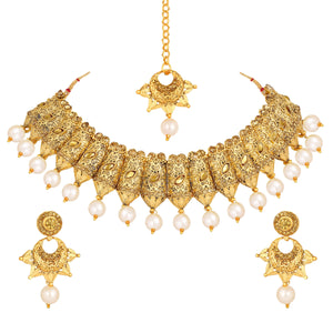 Asmitta Jewellery Zinc Jewel Set (Gold) -NS626