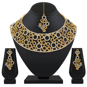 Asmitta Jewellery Zinc Jewel Set (White, Gold) -NS632