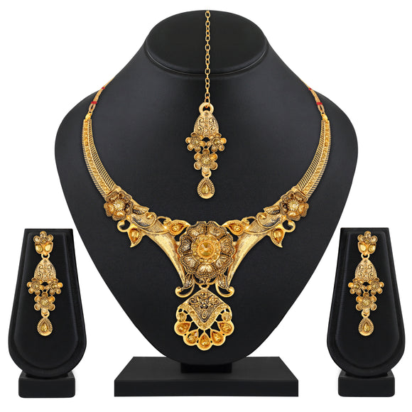 Asmitta Jewellery Zinc Jewel Set (Gold, Bronze) -NS634