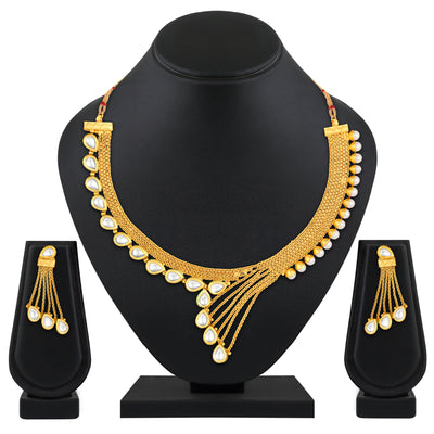 Asmitta Jewellery Zinc Jewel Set (White) -NS637
