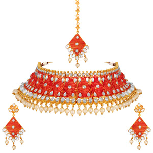 Asmitta Jewellery Zinc Jewel Set (Red) -NS643