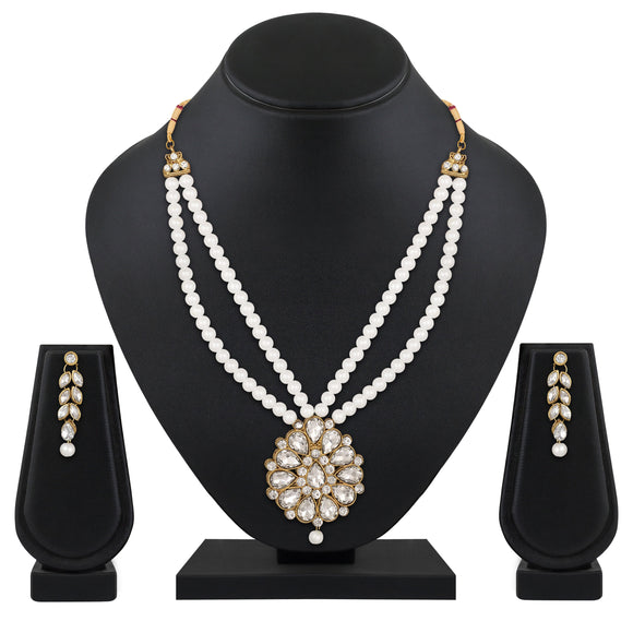 Asmitta Jewellery Brass Jewel Set (White) -NS658