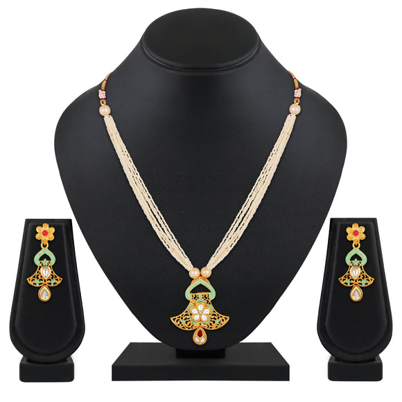 Asmitta Jewellery Brass Jewel Set (White) -NS659